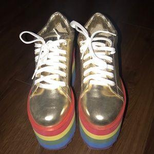 Dolls Kill Rainbow Platform Sneakers